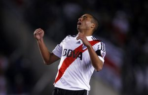 River Plate's Trezeguet reacts after missing a chance to score during their Argentine First Division soccer match against San Lorenzo in Buenos Aires