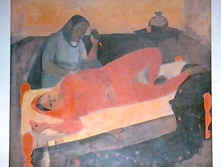 Femme sur lit charpay